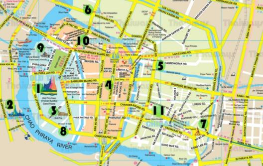 mapa centro bangkok